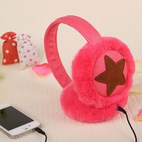 Plush Headphones Winter Headset Ear Warmer Earmuffs Music Wired PC Phone Headband Over Ear Earphone Computer