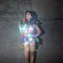 照らさ服lde発光ドレススーツ光るライト衣装女性社交ダンスドレスパフォーマンスドレスアクセサリー