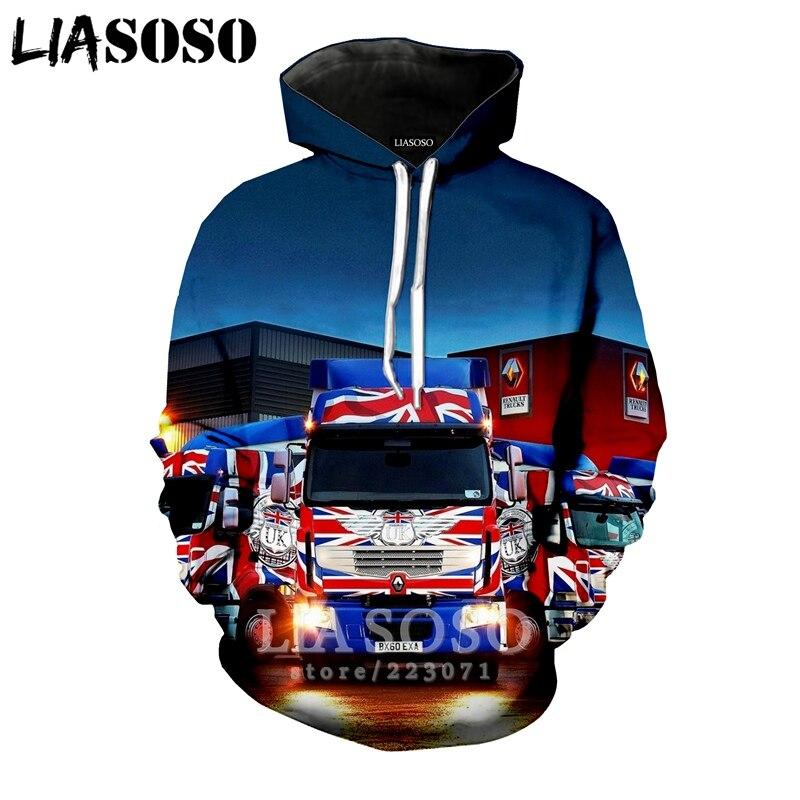 LIASOSO 2019 Winter New Men Women Sweatshirt 3D Print Car Truck Hoodie Long Sleeve Top Casual Harajuku Hip Hop Pullover B175-08