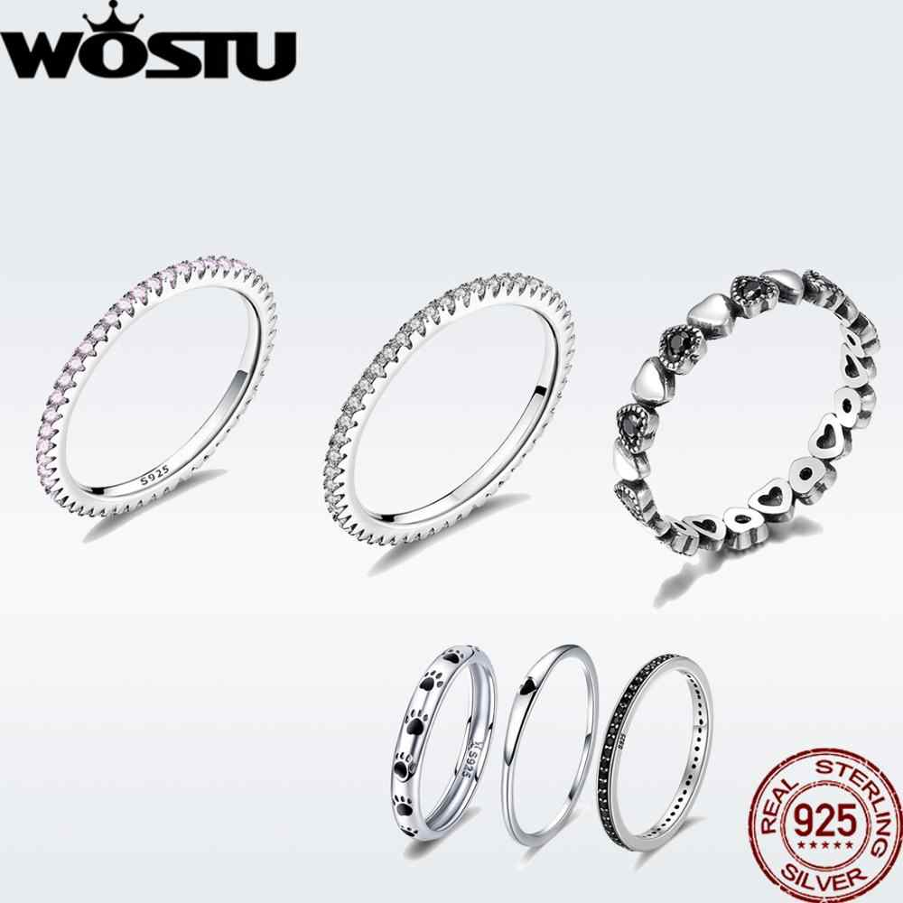 WOSTU Genuine 100% 925 Sterling Silver Glitter Stackable Circle Finger Rings For Women Engagement Silver Round Jewelry DXR066