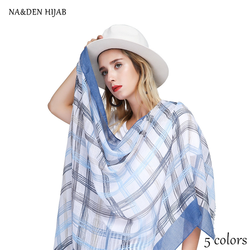 5 colors NEW natural design grid pattern shawl fashion plaid hijab luxury women scarves shawls brand soft muffler islamic hijabs