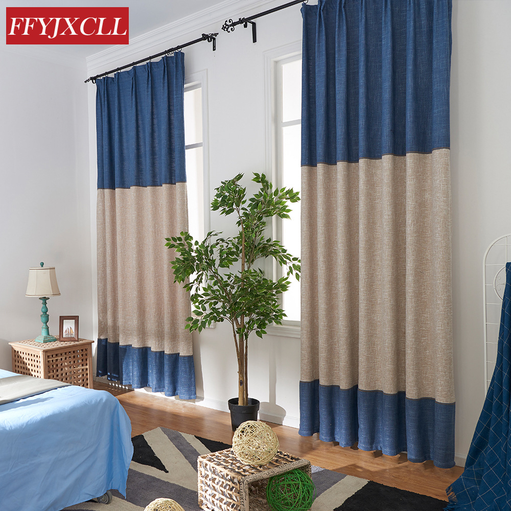 Half Shading Solid Color Splicing Simple Modern Cotton Linen Cloth Curtains For Living Room Window Cortinas