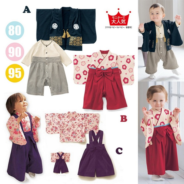 Meninas do bebê de Algodão Impressão Quimono Japonês Bonito Macacão de Bebê Menino Infantil Bebes Macacão de manga Longa roupas de Bebê Presentes do Dia Das Bruxas