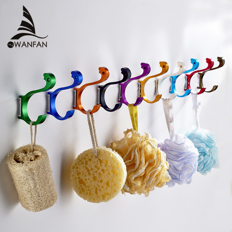 Free Shipping  Wall Mounted Aluminum Finish Candy Color Clothes Hanger & Towel & Coat & Robe Hook Decorative Bathroom Hooks 1103