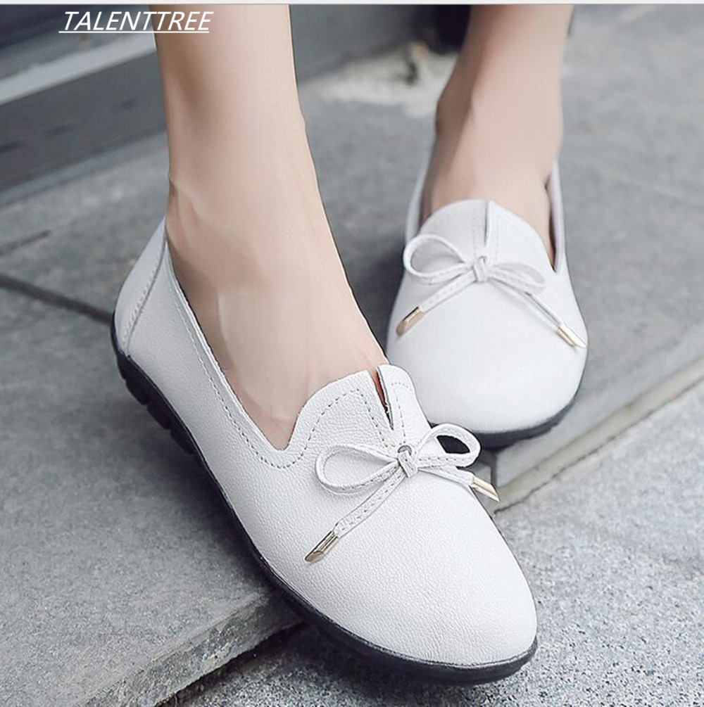 f88430c616753b 2018 Ballet flats Summer Women bowknot Genuine Leather flat Shoes Woman Flat  Flexible Round Toe slip on Casual Fashion Loafer