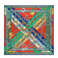 New Arrival Autumn Winter 130 130cm Occident Chain Horse Pattern Silk Brand Scarf Twill Large Square