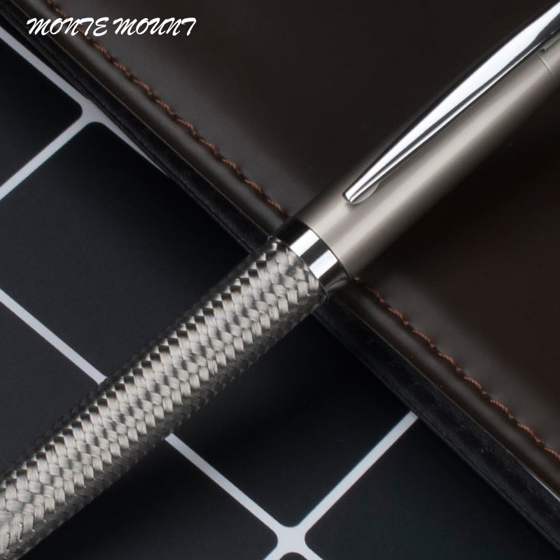 Lyx Svart Ballpen Brand Cruise Collection Platinum Line Braid Ballpoint Penna Silver Clip metallpenna