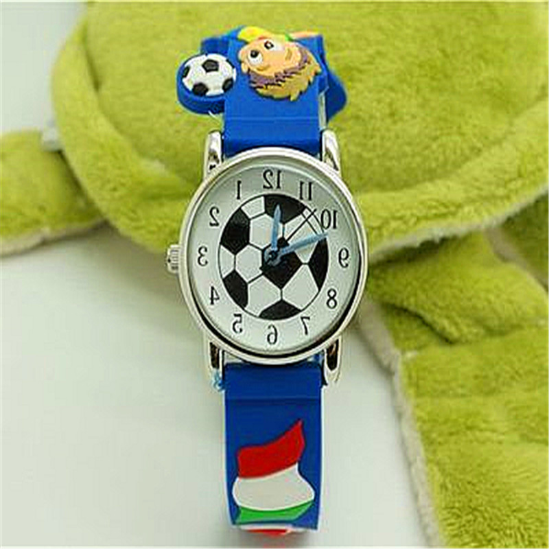 Fashion Boys Children 3D Footbal Quartz Wristwatches With Country Name Watches For Kids Promotion Gift Cartoon Silicone Watches