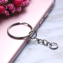 10 Pcs Polished Silver Keyring Keychain Short Chain Split Ring Key Rings Jewelry DIY 25mm Split Ring Key Fob(China)