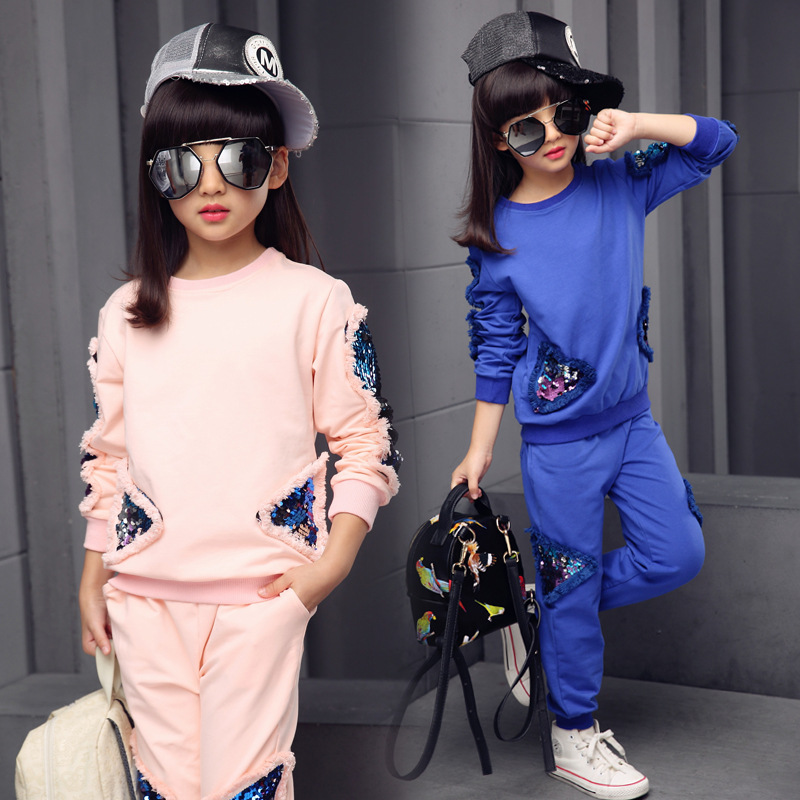 Children Girls Clothing Set Spring Sequin Teenage Girls Sport Suit School Kids Clothes Tracksuit Girls Clothes Set 4~12 Y