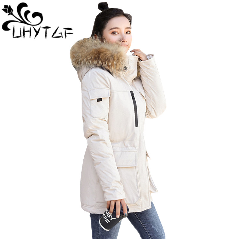 UHYTGF Outdoor Warm Winter Jacket Women Cotton Padded Jacket   Parkas   Female Down Cotton Fur collar Hooded Jacket Black Coat 114