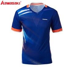Kawasaki Для мужчин бадминтон футболки Быстросохнущий полиэстер с v-образным вырезом Спортивная одежда с воротником для Фитнес Теннис Обучение ST-T1010