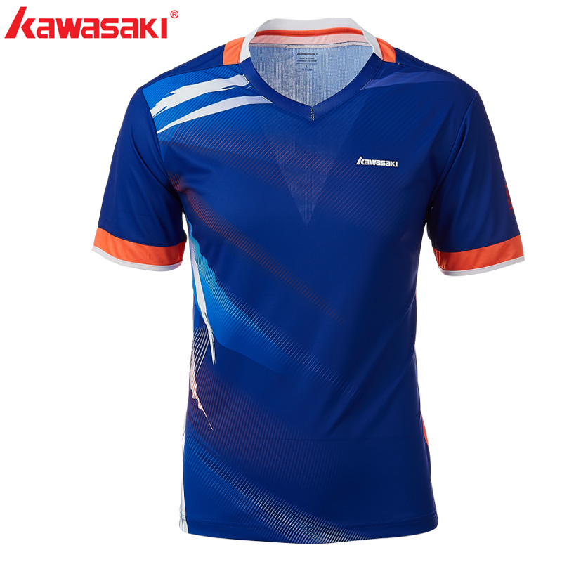 2018 Kawasaki Men Badminton T -Shirts 100% Polyester Quick Dry V -Neck Sportswear For Fitness Tennis Training Clothes ST-T1010