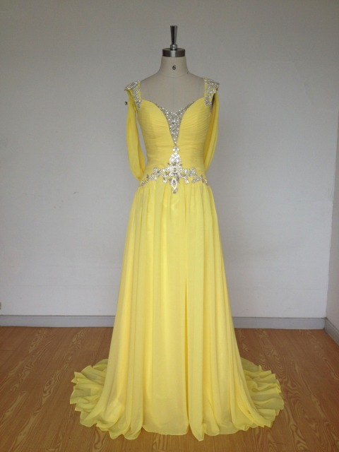 Yellow Women Formal Evening Dresses Luxury Crystals Beading 2017