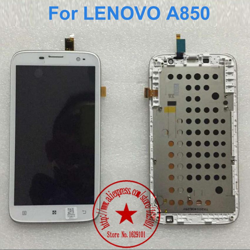 NEW For Lenovo A850 LCD Display Touch Screen Digitizer Assembly With Frame Bezel Original Replacement Parts