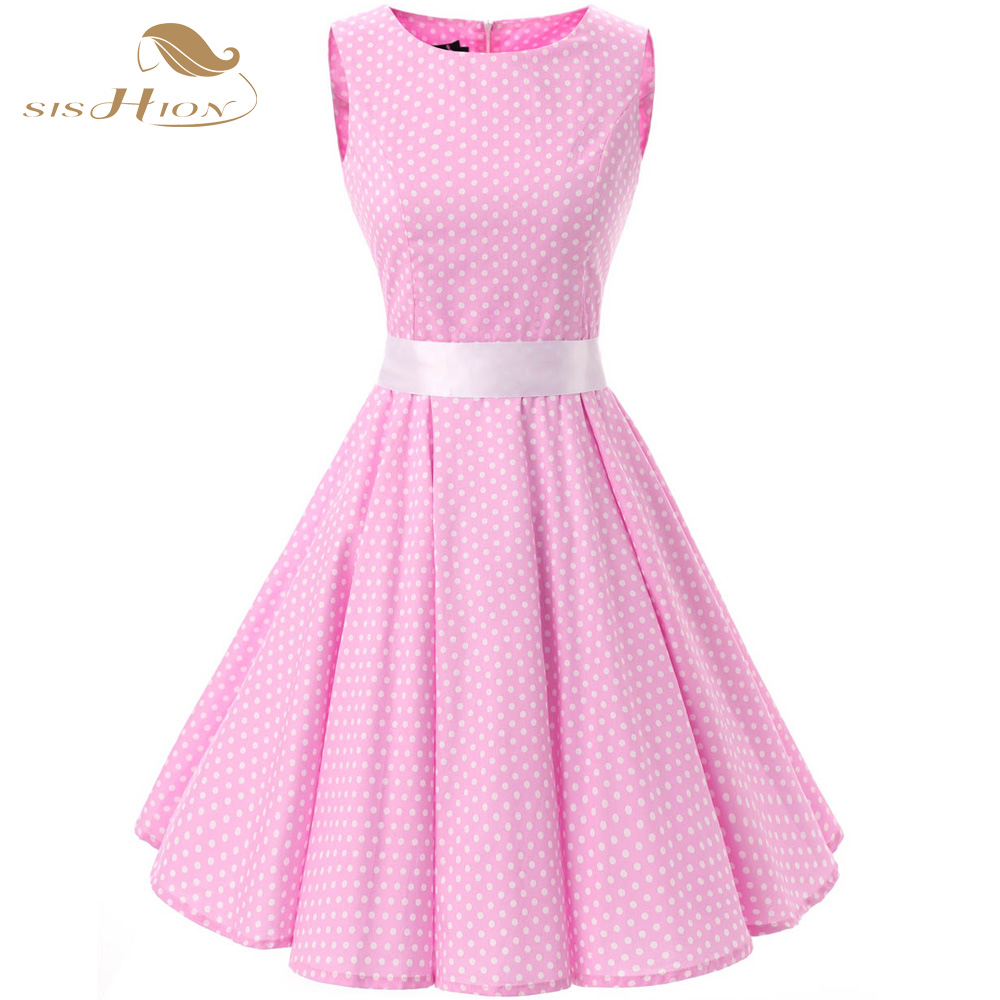 Fashion 50 s 60 s Polka Dot Vintage vestido Rockabilly Retro algodón ...