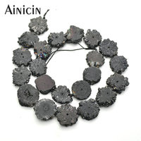 1 Strands (22beads ) Drusy Crystal Cluster Beads 16~18mm Flower Shape For Jewelry Making Findings