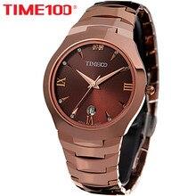 Time100 hombres correa de reloj de acero de tungsteno zafiro auto fecha calendario de negocios de cuarzo ocasional relojes de pulsera para hombres relogio