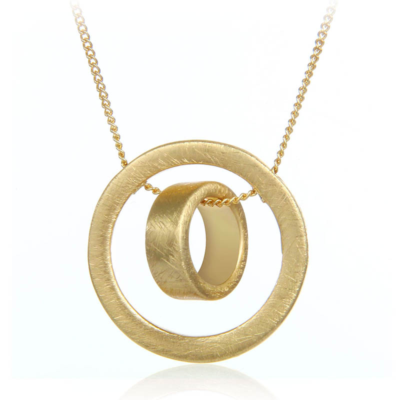 Best Sale New Style Brushed Double Circle Necklace Unique Pendant Necklace Fashion Jewelry Gift for Girls and Women