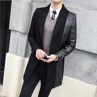 Men's suits, fur coats, long coats, fashion, new black windbreaker jacket, classic design, singer, stage costum small suit M 3XL