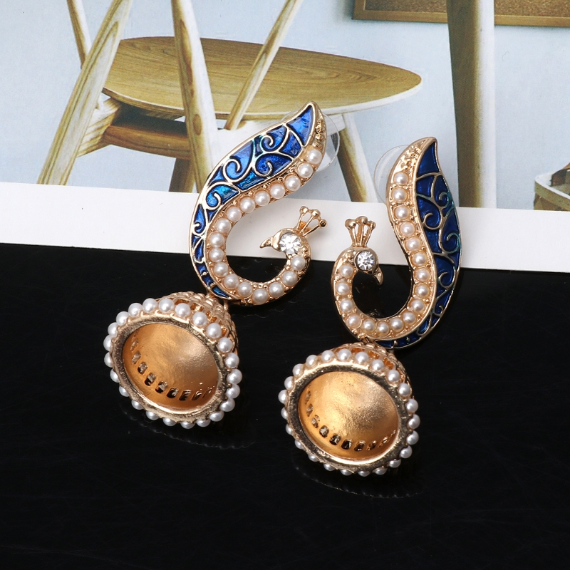Ethnic Indian Gold Pearl Blue Peacock Drop Earrings For Women Jhumka Jhumki Drop Earrings Gypsy Jewelry