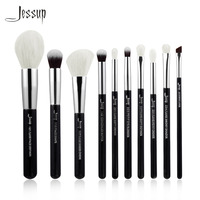 Jessup Black Silver Professional Makeup Brushes Set Make Up Brush Tools Kit Foundation Powder Definer Shader