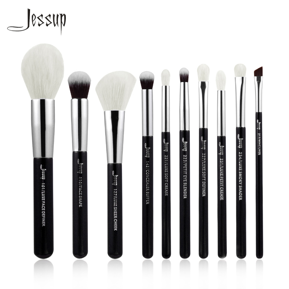 Jessup Black/Silver Professional Makeup Brushes Set Beauty tools Make up Brush Cosmetic Foundation Powder Definer Shader Liner 2017 jessup brushes 5pcs black silver beauty kabuki makeup brushes set foundation powder blush makeup brush cosmetics tools t063