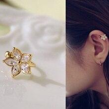 1Pc Gold/Silver Zircon Flower Ear Cuff Earring Wrap Clip On Fashion Jewelry Gifts For Women Girls CX17