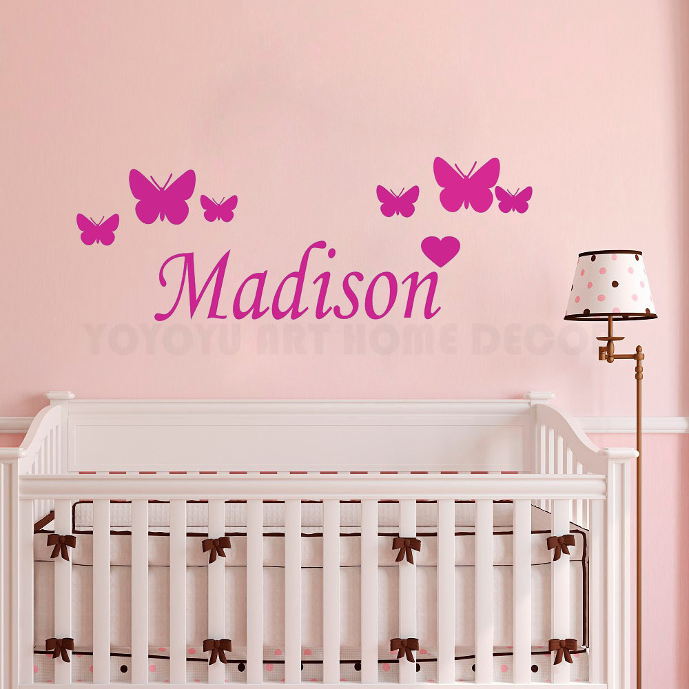 Us 2 72 26 Off Custom Your Baby Name Wall Decal Removable S Erflies Sticker For Kids Bedroom Nursery Room Mural Ay1167 In