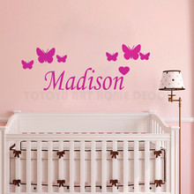 Custom your baby Name Wall Decal Removable Girls Butterflies Sticker For Kids Bedroom Nursery Baby Room Mural AY1167