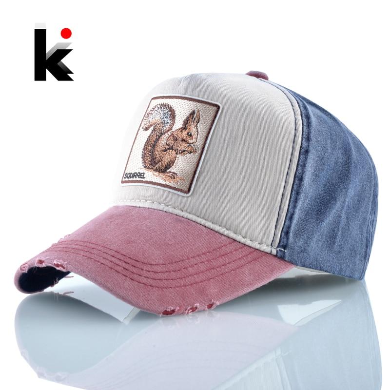 Snapback Hats For Men Squirrel Embroidery Baseball Cap Women Spring Summer Breathable Cotton Dad Hat Fashion Hip Hop Bones