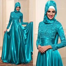 Muslim Long Evening Dresses With Hijab 2016 Arab Kaftan Dubai Long Sleeves Formal Women Evening Gown Custom Made abendkleider