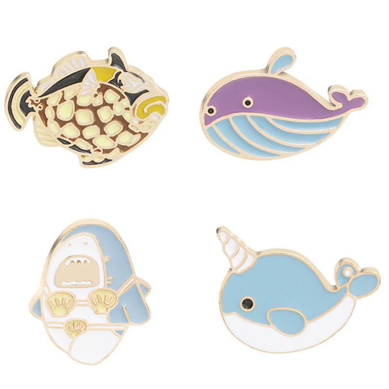 Brooches Jewelry Sets & More Cartoon Animal Brooch Marine Life Taiyaki Whale Narwhal Shark Puffer Fish Octopus Dolphin Pins Buckle Lapel Accessories 100% Original