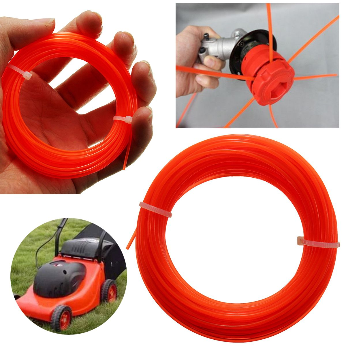 Mayitr Nylon Trimmer Line Rope Roll Fit Most Petrol Strimmers Machine Lawn Mover Parts 15m x 1.25mm mini garden nylon grass trimmer line light purple 15m