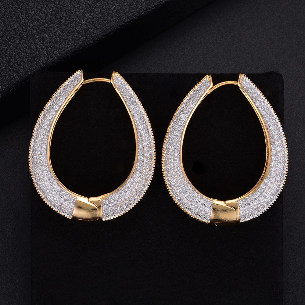 43MM Luxury Irregular Round Circle Full Pave Cubic Zirconia Engagement Party Drop Dangle Earrings Jewelry For Women