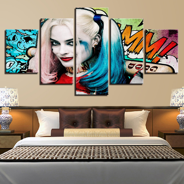 Popular Canvas Modular Posters Pictures HD Printed Wall Art 5 Panels Movie Joker Paintings Cuadros Decorative Living Room Frames