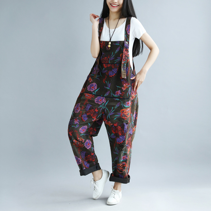 New Jumpsuits Rompers  spring and summer printing old big pants female large yard hole rural wind bib-in Jumpsuits from Women's Clothing    2