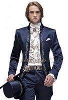 Последние Пальто Пант дизайн итальянский Темно синие атласная Вышивка мужской костюм Slim Fit 2 шт. смокинг жениха пользовательские вечерний п