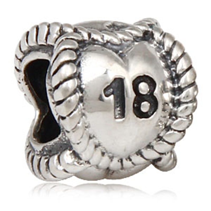 Milestones Number 18 Charm Sterling Silver 18th Birthday