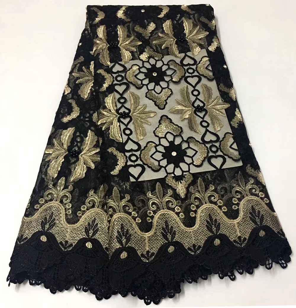 black New Design cord Lace High Quality Embroidery Lace Fabric 2019 African guipure Lace Fabricblack New Design cord Lace High Quality Embroidery Lace Fabric 2019 African guipure Lace Fabric