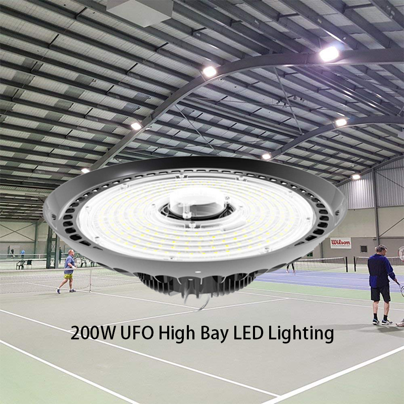 200W UFO High Bay LED Lighting Waterproof US Plug Dimmable LED Warehouse Lights IP65 High Bay Shop Light For Factory Garage Gym