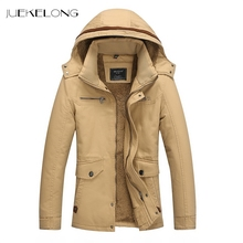 2018 New Men Fashion Style Outerwear Thick Warm Inside Plush hooded Winter Jacket Fur Collar Single Breasted Men Parkas SD-9868