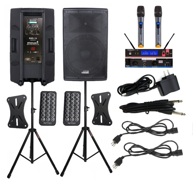 US $585 23 |STARAUDIO 2X Powered 4000W 15 Inch PA DJ Speakers Active  Speaker Stage Stands 2 Channel UHF Wireless Handheld Microphone SHD 15-in