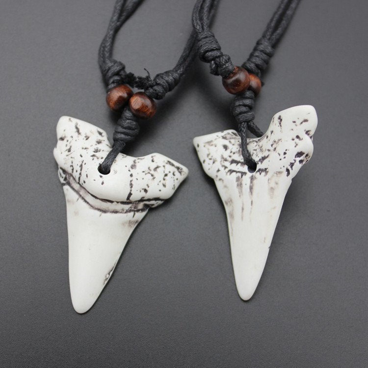 """Shark Tooth"" Bone Shark Tooth Necklace / Rope 5"
