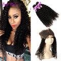 360 Кружева Фронтальной С Bundle Kinky Вьющиеся Девы Волос С 360 Фронтальная Закрытие Мягкие Вьющиеся Волосы Малайзии 360 Фронтальная С пучки