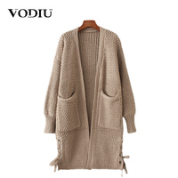 Autumn Winter Tops Female Knitted Cardigan 2017 New Hollow Out Belt Long Sleeve Casual Sweater For