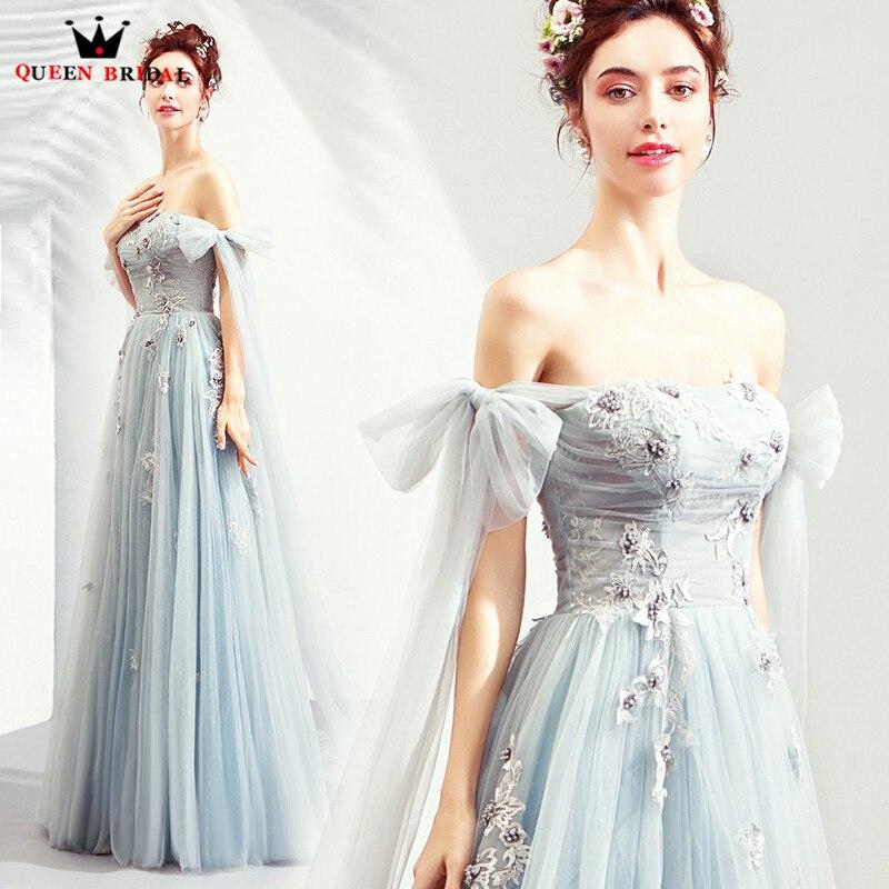 2019 New Fashion Evening Dresses A line Strapless Tulle Lace Flowers Appliques Long Formal Dress Vestido