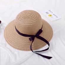 2019 spring new womens sun hat outdoor beach bow sunscreen straw hand-woven summer vacation