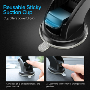Image 5 - RAXFLY Car Phone Holder Windshield Mount For Samsung S9 Plus S8 S7 360 Rotation Phone Car Holder in Car For iPhone Huawei Stand