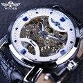 Vencedor Branco Azul Mostrador do Relógio Dos Homens Relógio Mecânico Automático de Esqueleto Relógios De Grife de Luxo Da Marca Homens relógio de Pulso Relógio de Homens